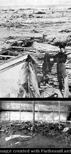 TRAGEDY: Aftermath to the Galveston Storm DISASTER - A man stands amidst storm debris with the Gulf behind him. [bottom:] The dead are laid out in rows. - created via http://pinthemall.net