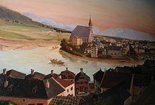 Billede af byen der ligger ved Salzach floden.
