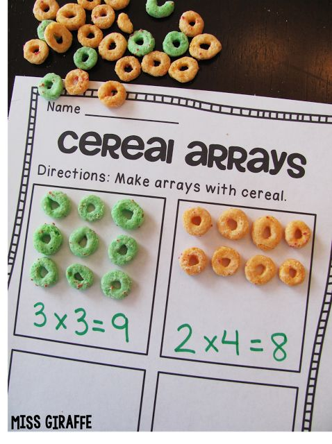 Use cereal to practice arrays and repeated addition and SO MANY GREAT IDEAS on this post!