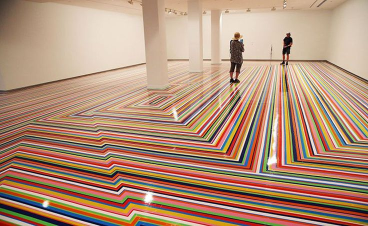 Credit: Mark Metcalfe/Getty Feast for the eyes ... artist Jim Lambie's Zobop floor work at the 19th Biennale of Sydney at the Museum of Contemporary Art