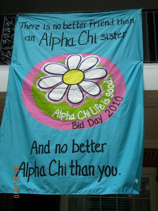 cute banner!Ideas, Sorority Recruitment, Bid Day Signs, Alpha Chi Omega Bid Day, Phi Mu, Tshirt Design, Sidewalk Chalk, Alphachi, Bid Day Theme