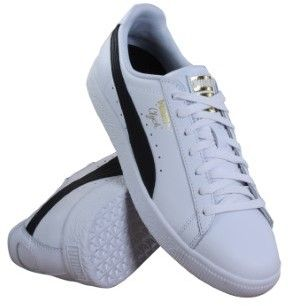 Puma Mens Clyde Core Foil White & Black Shoes