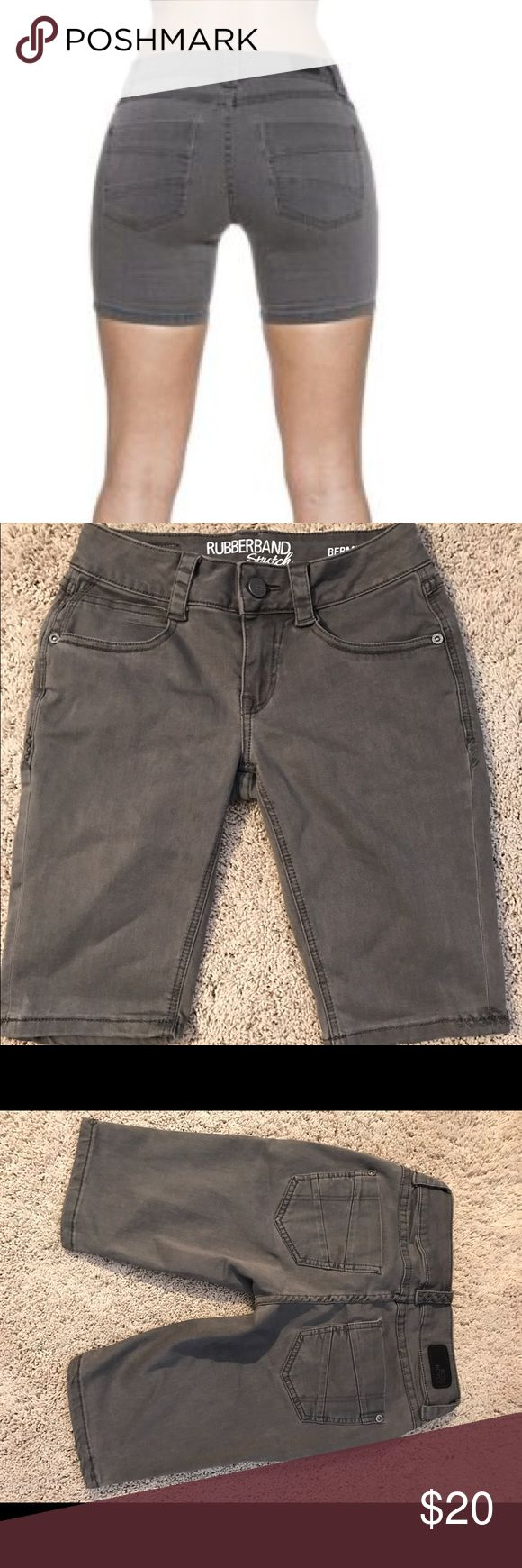 """Rose Royce Sarina Bermuda Short Rose Royce Rubberband Stretch Sarina Bermuda short in slate gray. Like new condition. Inseam 11"""". 65% cotton 33% poly 2% spandex. Comment with any questions or make an offer. Rose Royce Shorts Bermudas"""