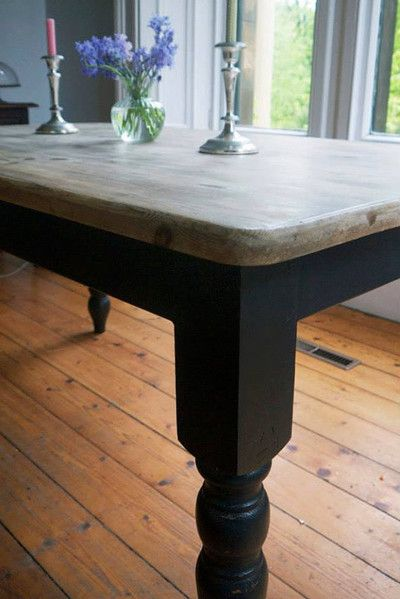 Vintage Farmhouse Pine Dining Table Scrub Top Painted Refurbished Legs Emily Rose