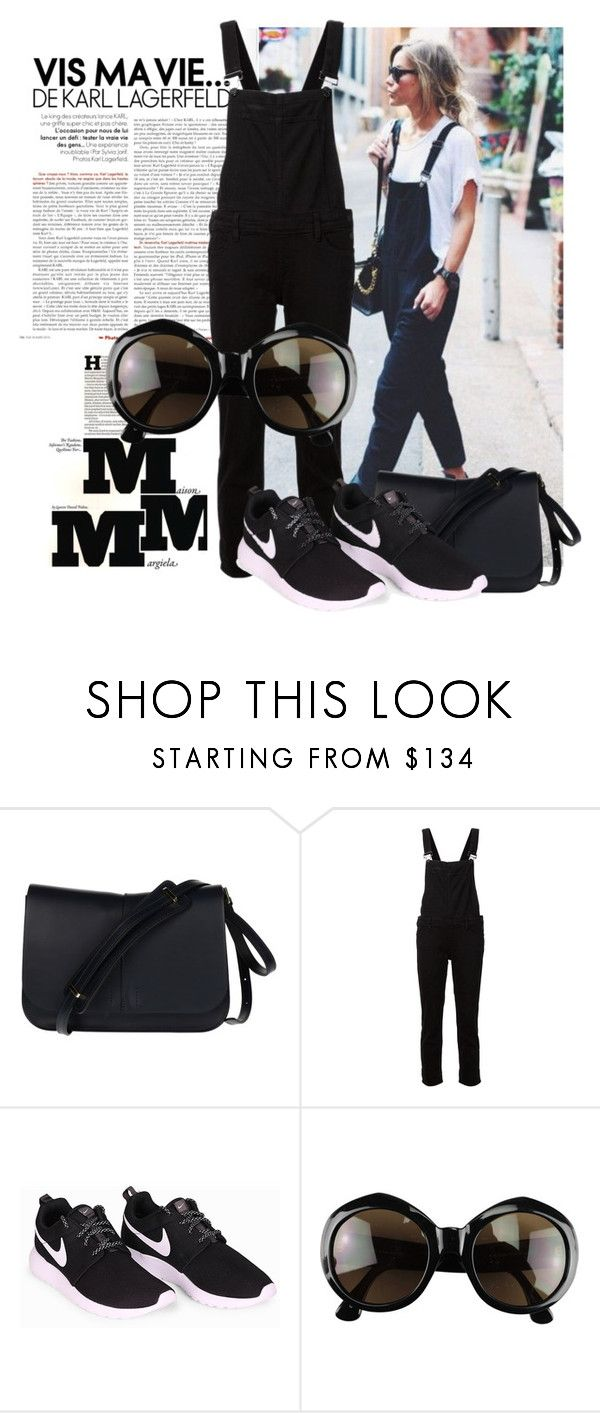 """""""Overalls with sneakers"""" by ivanoe ❤ liked on Polyvore featuring Maison Margiela, Gianni Chiarini, Paige Denim, NIKE and Dries Van Noten"""