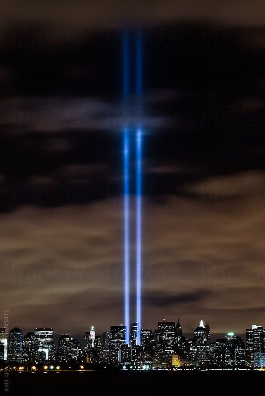9 11 Tribute In Lights Next To World Trade Center by Kelli Kim