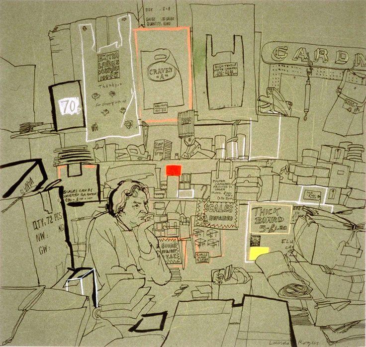 lucinda rogers drawing ink watercolour london life spitalfields gardners shop Paul Gardner
