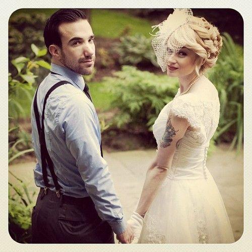 Wedding suspenders   birdcage veil bride groom vintage wedding suspenders