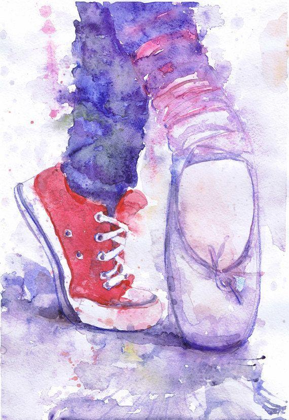 Impresión de bailarina, Ballet Pointe zapatos acuarela arte Ballet regalos acuarela pintura de bailarina, bailarines arte, regalo para bailarín de danza Converse                                                                                                                                                                                 Más