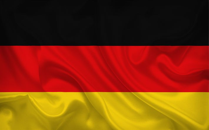 Scarica sfondi Bandiera tedesca, la Germania, la seta, la bandiera della Germania