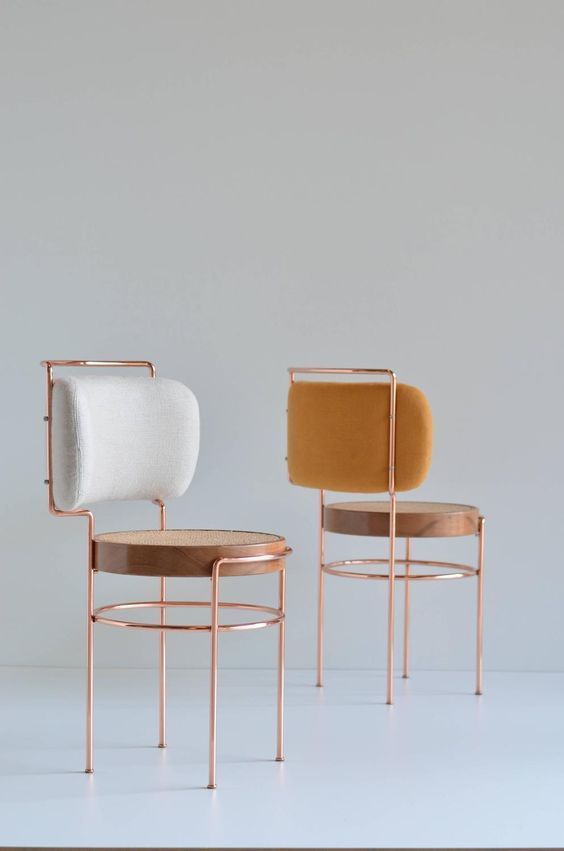 Appearing Feminine In Shape, The Chair Is Made Using Copper, Solid Wood,  Straw (for The Seat) And Fabric (for The Backrest).