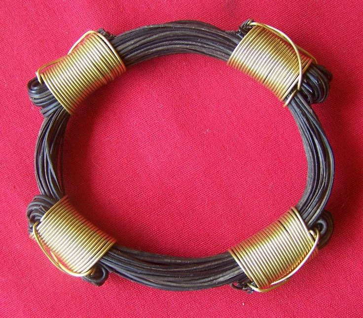JEGB5T 3.5inc Diameter 20 hair bulky bracelet Konots bound using gold wire. Price $320 incl. ship & ins