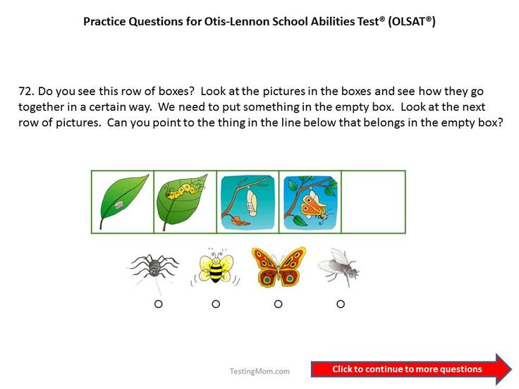 Practice OLSAT questions for 1st grade to 2nd grade