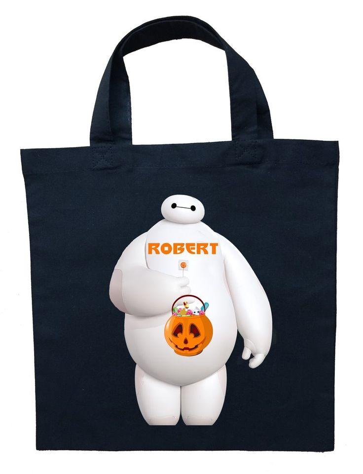 Big Hero 6 Trick or Treat Bag - Personalized Baymax Halloween Bag #baymax-halloween-bag #baymax-trick-or-treat-bag #big-hero-6-halloween-bag