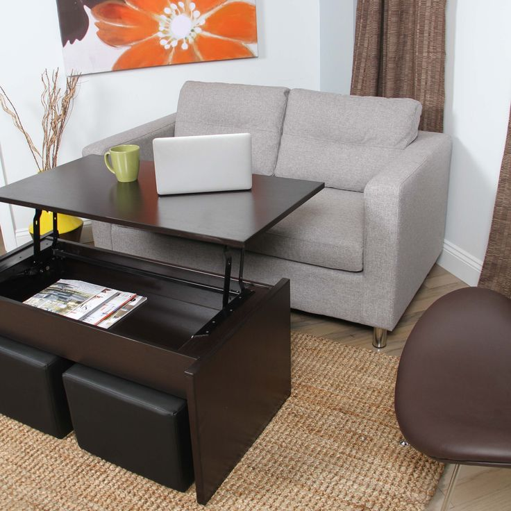 Add a unique and functional accent to your home with this creative coffee table. This handsomely crafted coffee table features a lift-up top and two (2) ottomans which tuck neatly beneath for conveniently space saving storage.