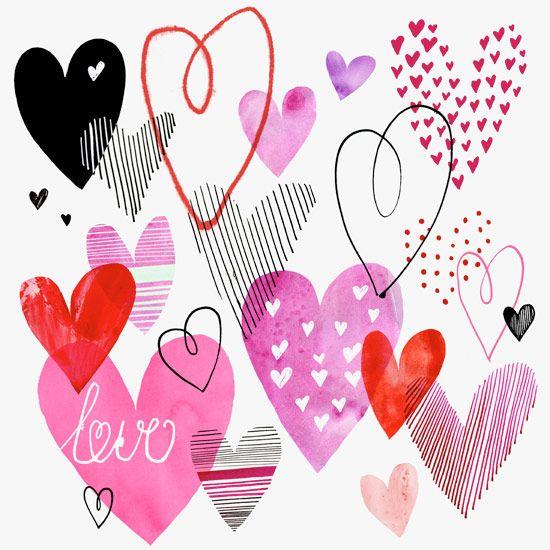 Margaret Berg Art: Hearts Collage Valentine's Day Card: White