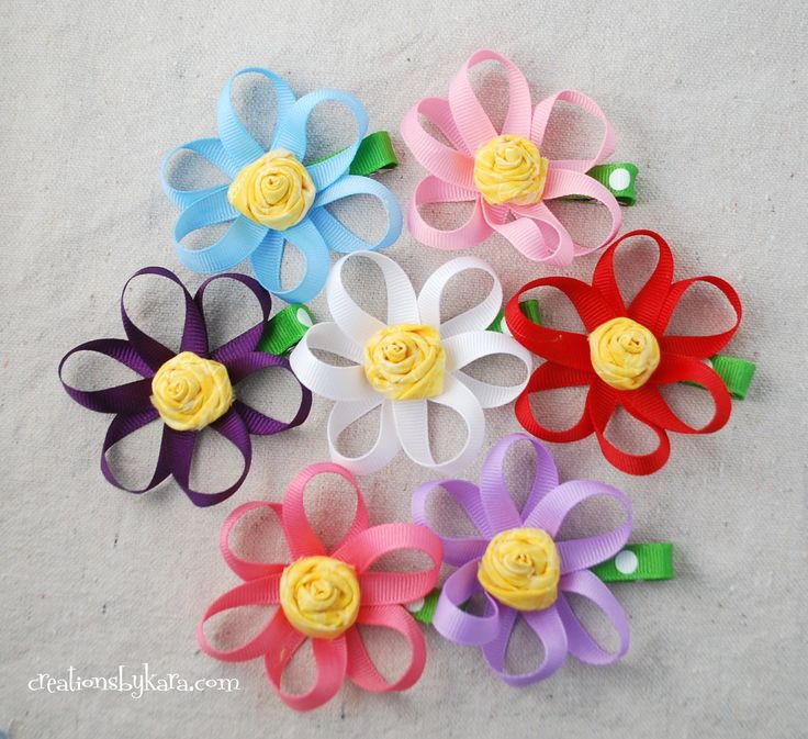 How to make a loopy ribbon flower hair clip with rosette center.