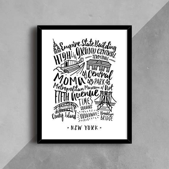 NYC Print New York City Poster New York NYC Wall Art