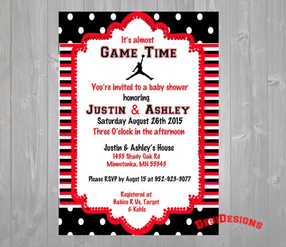 Michael Jordan Baby Shower Invitation Red or Blue by DesiDesigns7