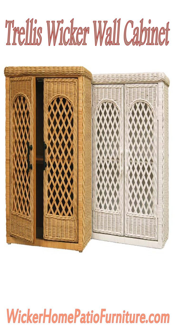 Trellis Wicker Wall Cabinet Wall cabinets not only save floor space, they can be mounted at a convenient access height for everyone. The Trellis design is just as decorative as it is useful for a variety of storage requirements