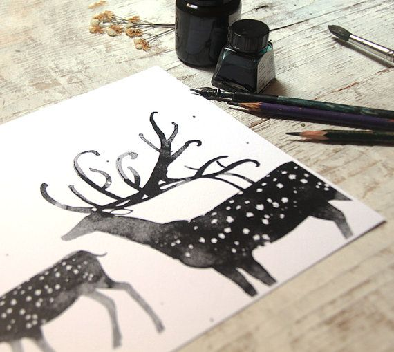 Deer art. Large home decor print. Deers by VictoriaSemykina