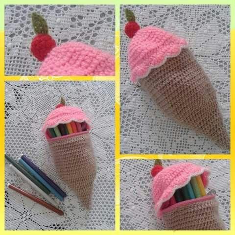 Crochet pencil case ice cream!  https://m.facebook.com/PinelopisHandmade/