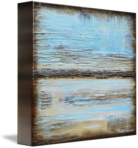 """""""Blue Serenity """" Large Giclee PRINT, CANVAS PRINT modern art blue abstract painting large coastal wall art from original textured blue brown urban gallery painting full of texture and depth with an or"""