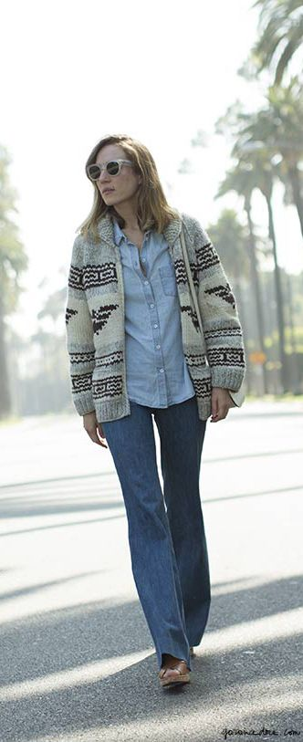 Flared jeans, denim shirt, chunky sweater, Los Angeles / Garance Doré