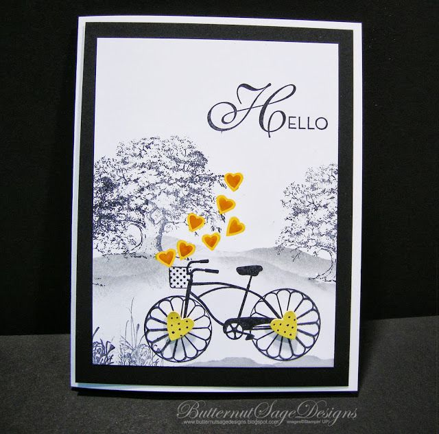 handmade hybrid card from Butternut Sage Designs ... digi hearts flying out of bicycle basket ... stamping in other parts ...wheels with popped die cut hearts ... cute greeting card ... Stampin' up!