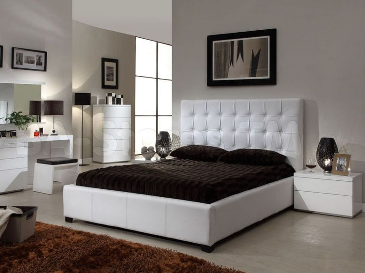 Die besten 25+ weiße Schlafzimmer Set breites Doppelbett Ideen auf - schwarz weiß schlafzimmer