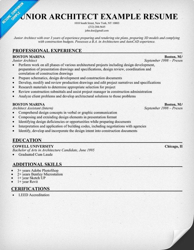 Resume - Junior Architect (resumecompanion) Resume Samples - junior architect resume