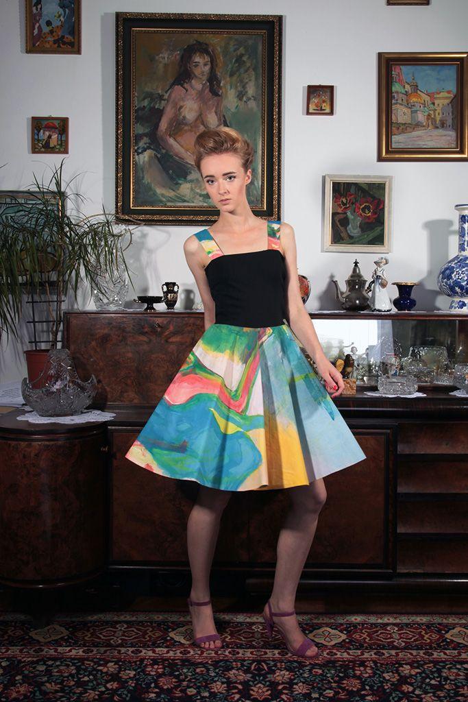 "a dress, a painting by Konrad Peszko entitled ""Sus""; photo: Dawid Kot, model: Anna Maria Marylska"