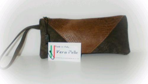 Pochette in Vera Pelle Made in Italy in Abbigliamento e accessori   eBay