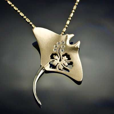 Gold Manta Ray Pendant with Hibiscus and Diamonds - Manta Ray Jewelry by Baytowne Jewelers, Destin FL