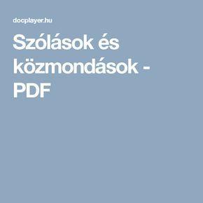 Szólások és közmondások - PDF