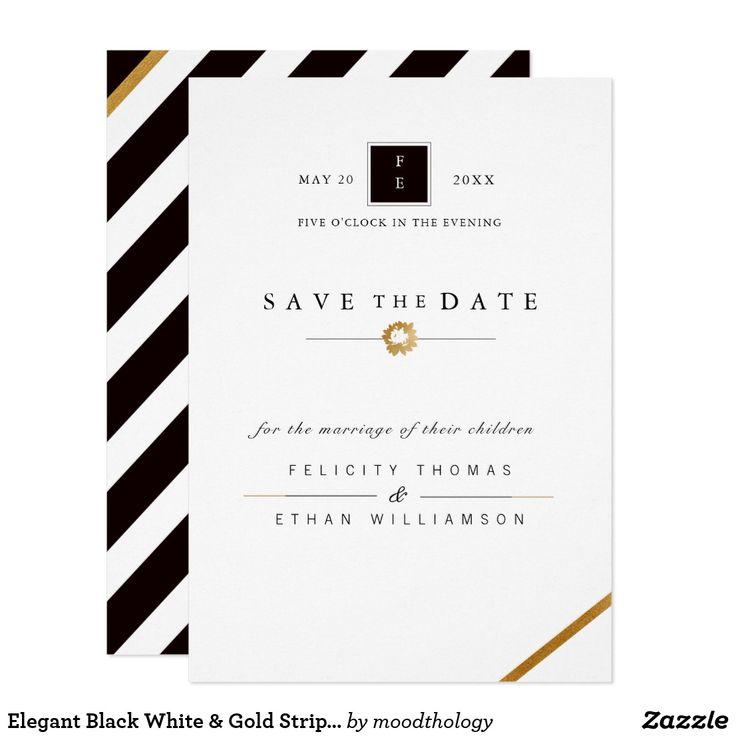 Elegant Black White & Gold Stripe Save The Date