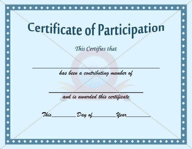 participation certificate template participation