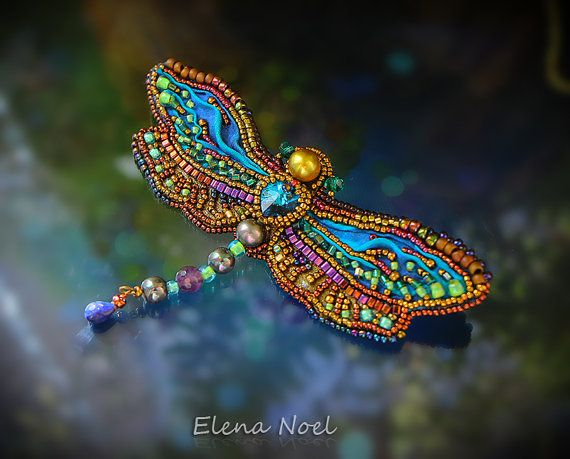 Summer dragonfly embroidered beaded brooch. Bead by ElenNoel