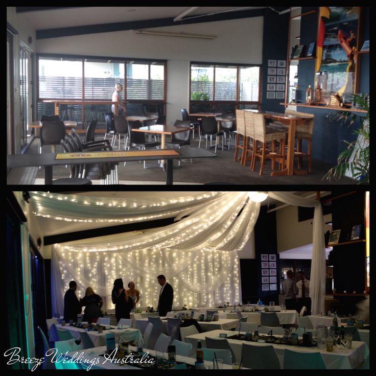 Surf club transformation into reception venue. #breezeweddings #reception #transformation #wedding #venue #cabaritaslsc #cabaritawedding #cabarita #cabaritareception #cabaritasurfclub #beforeandafter #fairylights #backdrop #ceiling #draiping #australia