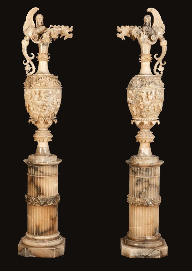 – A Pair of Antique Alabaster Vases on Pedestals