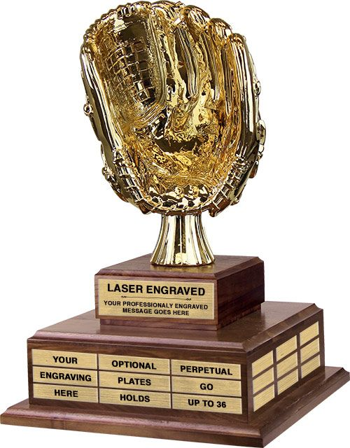 Gold Baseball Glove Twin Tier Perpetual Trophy