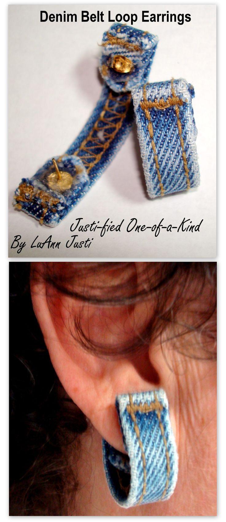 Pendientes con vaqueros reciclados Denim Belt Loop Earrings. Easy to make... Fun to wear.
