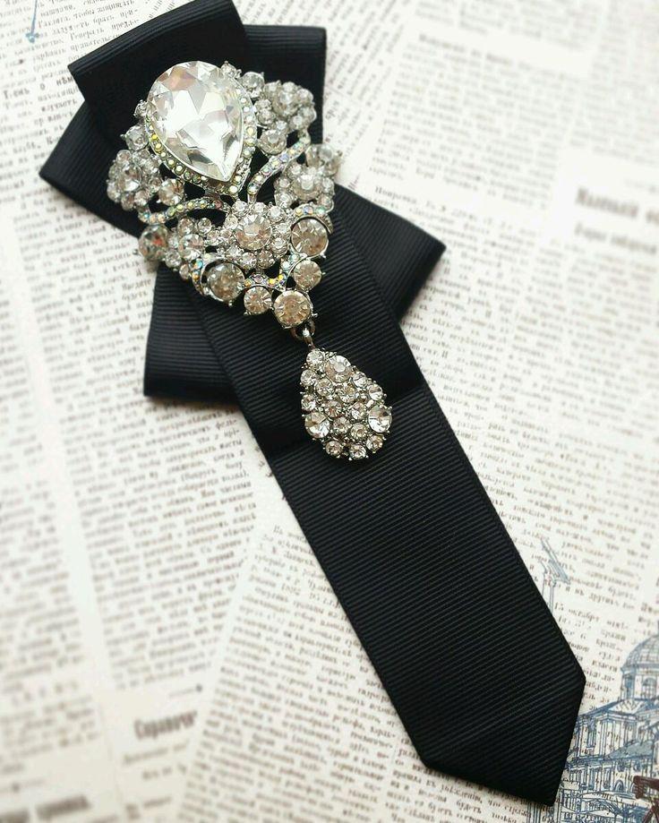 """Купить Галстук """" Королева вечера """" - галстук, женский галстук, галстук-брошь, черный"""
