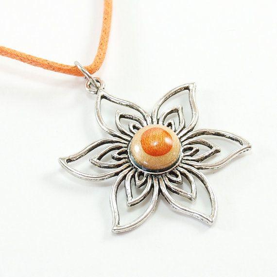 Recycled Skateboard Jewelry - Skateboard Necklace,Flower necklace, Recycled skateboard flower Necklace, woman birthday, Eco jewelry, Orange