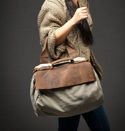 Washed canvas with leather Shoulder Messenger portable leisure bag. $62.98, via Etsy.