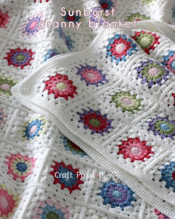 Sunburst Granny Square Afghan, with a couple of join tutorials and link to a nice colour combination chart