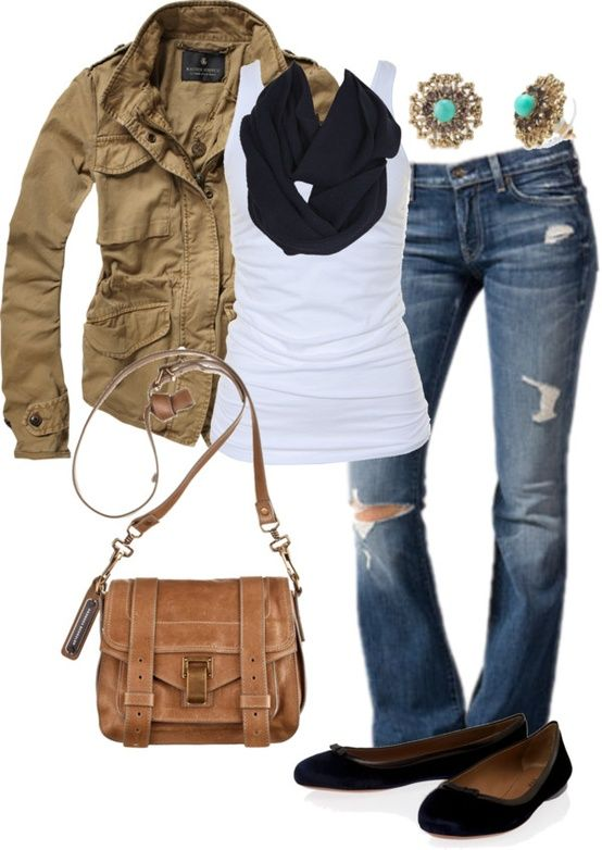 Military style jacket, tank, distressed jeans.  Have all pieces.