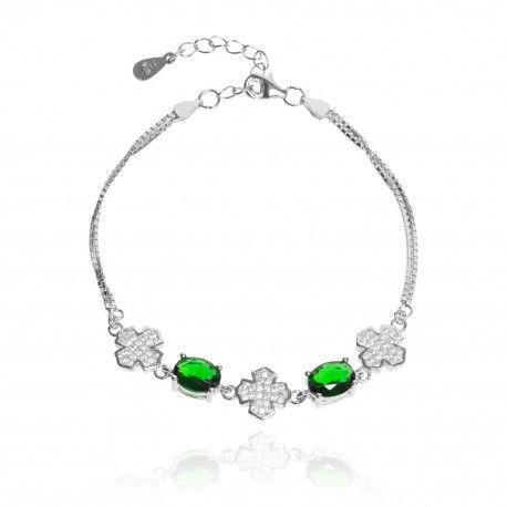 Roztomilý stříbrný náramek se smaragdy a čtyřlístky
