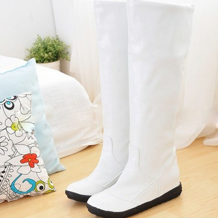 Patent Leather Flat Tall Canister Boots OL Female Boots Knight Boots Rain Boots | eBay