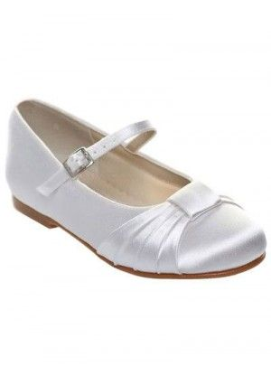 White Satin Face Bow Flat Flower Girl Shoes